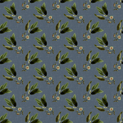Floral Twig Blue Linen Small Format