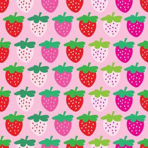 aloha strawberries 2 inch half drop on pink