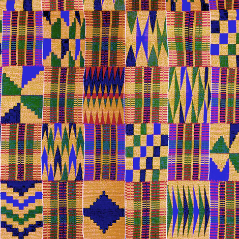 Kente Cloth // Anzac Yellow & Persian Blue // Small fabric by thinlinetextiles on Spoonflower - custom fabric