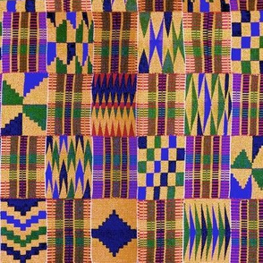 Kente Cloth // Anzac Yellow & Persian Blue // Small