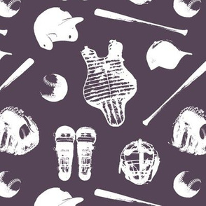 Baseball Gear on Purple Taupe // Small