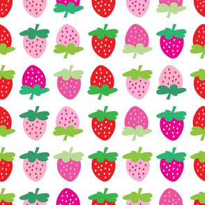 aloha strawberries 2 inch on white mixed