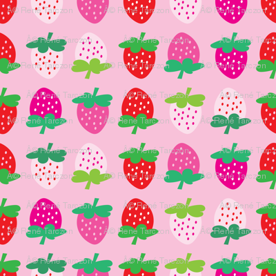 aloha strawberries 2 inch on pink mixed
