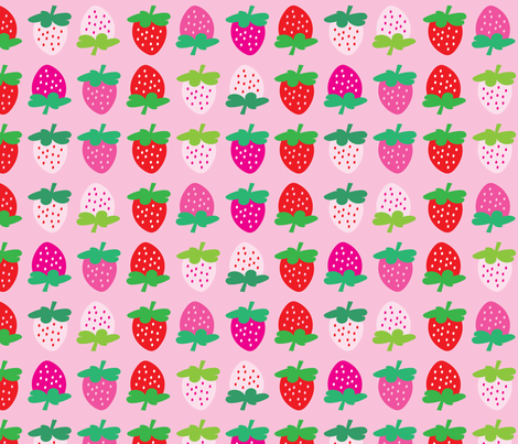 aloha strawberries 2 inch on pink mixed fabric by alohababy on Spoonflower - custom fabric