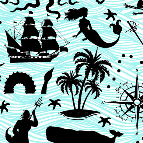 High Seas Adventure on Teal Waves // Large fabric by thinlinetextiles on Spoonflower - custom fabric