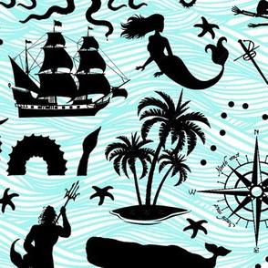 High Seas Adventure on Teal Waves // Large
