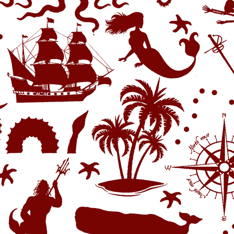 High Seas Adventure on Maroon // Large fabric by thinlinetextiles on Spoonflower - custom fabric