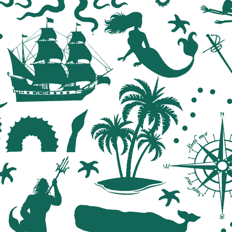 High Seas Adventure in Aqua Green // Large fabric by thinlinetextiles on Spoonflower - custom fabric