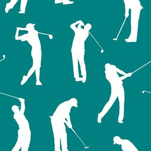 Golfers on Teal // Large