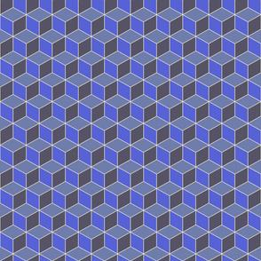 Blue Indigo Isometric Cubes