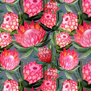 watercolor protea floral print on grey