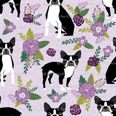 Boston Terrier Floral (smaller scale)- Pet Quilt C - dog floral, florals,  - lilac