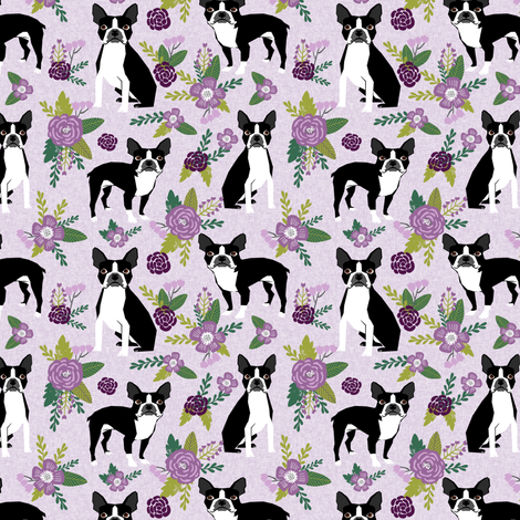 Boston Terrier Floral (smaller scale)- Pet Quilt C - dog floral, florals,  - lilac fabric by petfriendly on Spoonflower - custom fabric