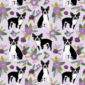 Boston Terrier Floral (smaller scale)- Pet Quilt C - dog floral, florals,  - lilac