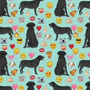 Black Lab emoji labrador retriever dog breed fabric mint