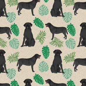 Black Lab monstera tropical labrador retriever dog breed fabric tan