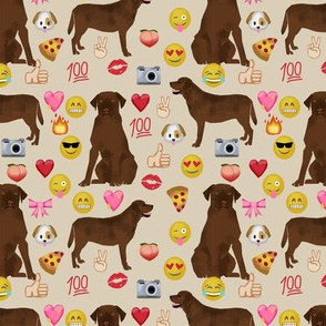 Chocolate Lab emoji labrador retriever dog breed fabric tan