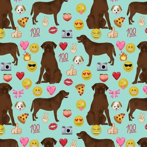 Chocolate Lab emoji labrador retriever dog breed fabric mint
