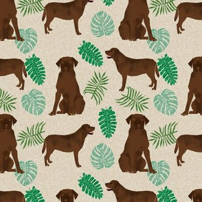 Chocolate Lab monstera tropical labrador retriever dog breed fabric tan