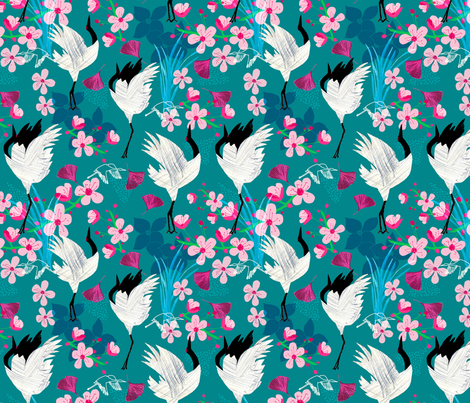 Red Crested Crane fabric by amanda_west on Spoonflower - custom fabric