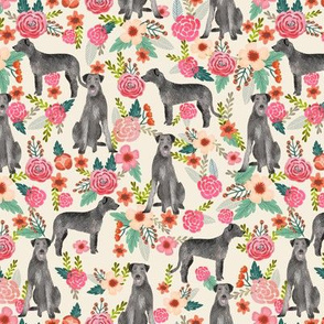 irish wolfhound floral dog breed fabric tan