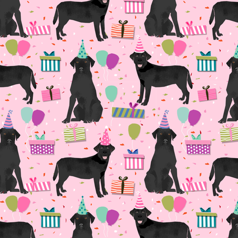 black lab birthday party dog breed labrador retriever pink fabric by petfriendly on Spoonflower - custom fabric