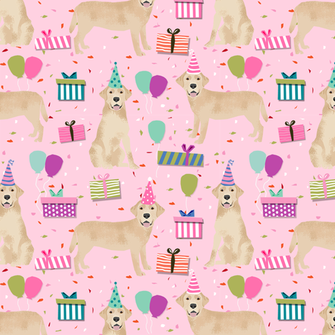 yellow lab birthday party dog breed labrador retriever pink fabric by petfriendly on Spoonflower - custom fabric