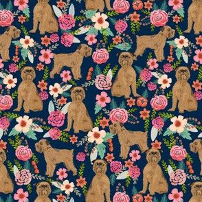 brussels griffon florals (smaller scale) dog fabric cute floral vintage les fleurs fabric cute flowers and pets dog fabric