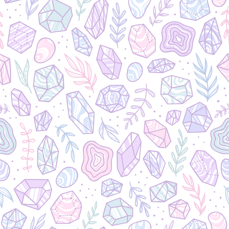 Pastel crystals and plants fabric by kondratya on Spoonflower - custom fabric