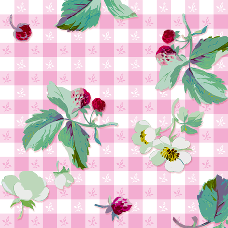 Strawberry Picnic Tartan sorbet fabric by lilyoake on Spoonflower - custom fabric