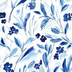 Indigo Modern Blue Watercolor Leaves