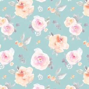 Muted Blue Pastel Floral