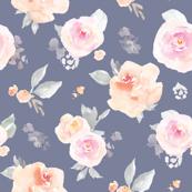 Navy Blue Pastel Florals