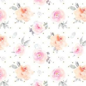 Gold Polka Dots Pastel Floral
