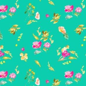 Meadow Field Florals on Brigh Teal