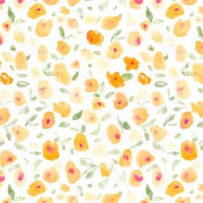 Abstract Watercolor Orange Floral