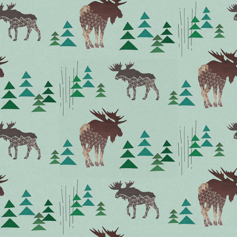 Geometric Moose and Trees fabric by lnd_art on Spoonflower - custom fabric