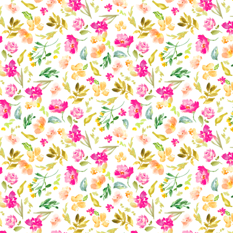 Meadow Watercolor Floral 50% fabric by angiemakes on Spoonflower - custom fabric