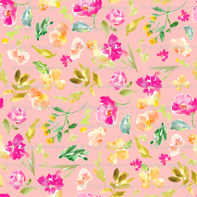 Meadow Watercolor Florals on Pink