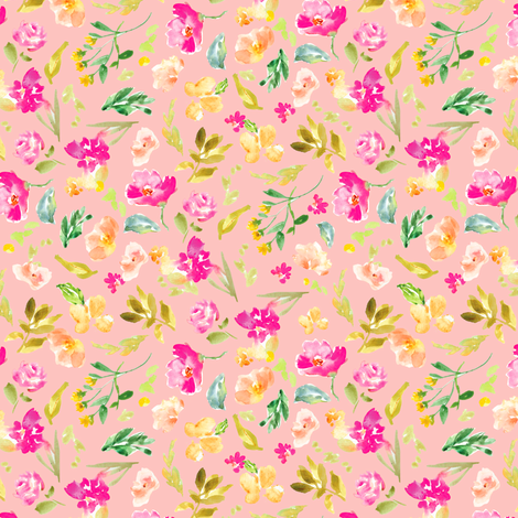 Meadow Watercolor Florals on Pink fabric by angiemakes on Spoonflower - custom fabric
