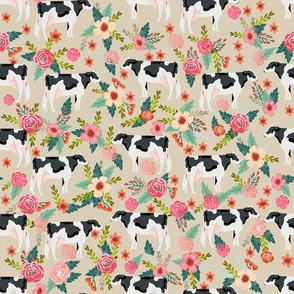 holstein floral cattle cow farm animal floral tan