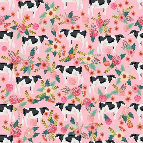 holstein floral cattle cow farm animal floral pink fabric by petfriendly on Spoonflower - custom fabric