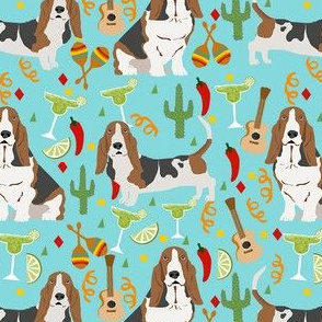 basset hound fiesta dog breed fabric blue