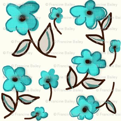 Retro Flower / aqua blue