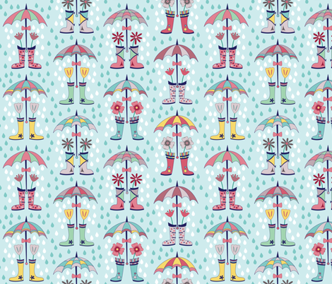 Raindrops and Rain Boots (March) fabric by brendazapotosky on Spoonflower - custom fabric