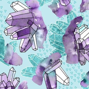 Amethyst Crystal Clusters / Violet and Aqua
