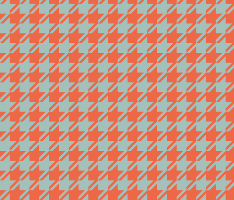 Houndstooth - Mint, Red fabric by fernlesliestudio on Spoonflower - custom fabric
