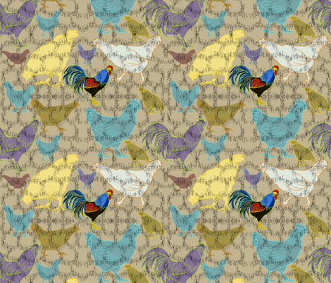 Farmhouse Chickens fabric by salzanos on Spoonflower - custom fabric
