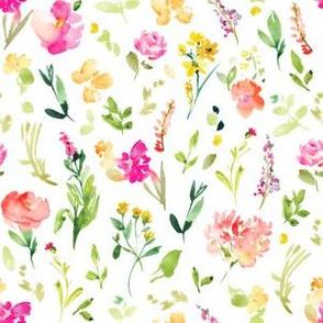 Meadow Watercolor Floral Field