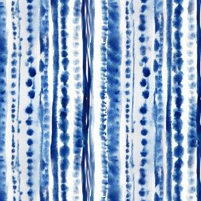 Indigo Watercolor Stripes and Dots